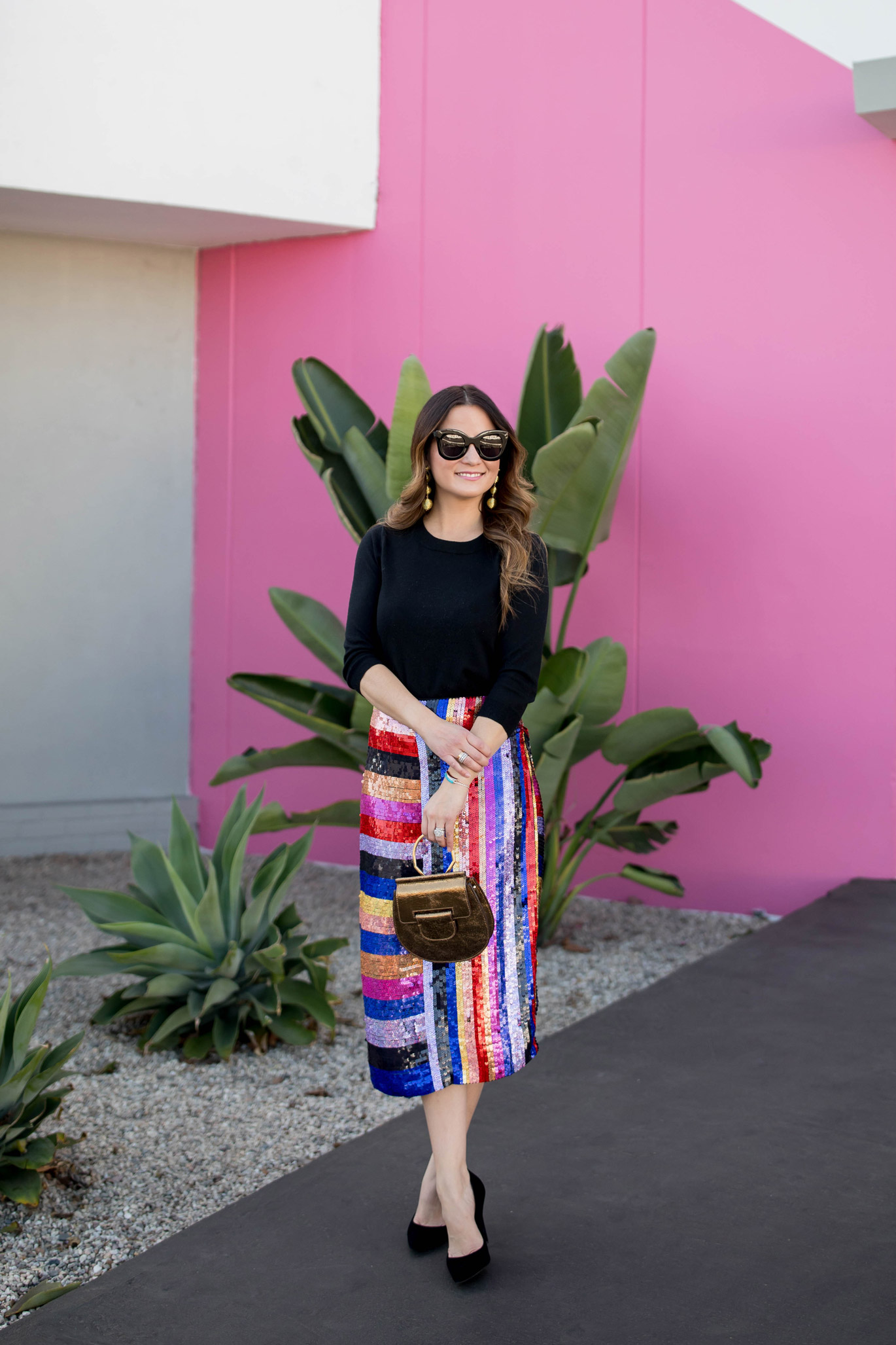 Jennifer Lake Topshop Sequin Skirt