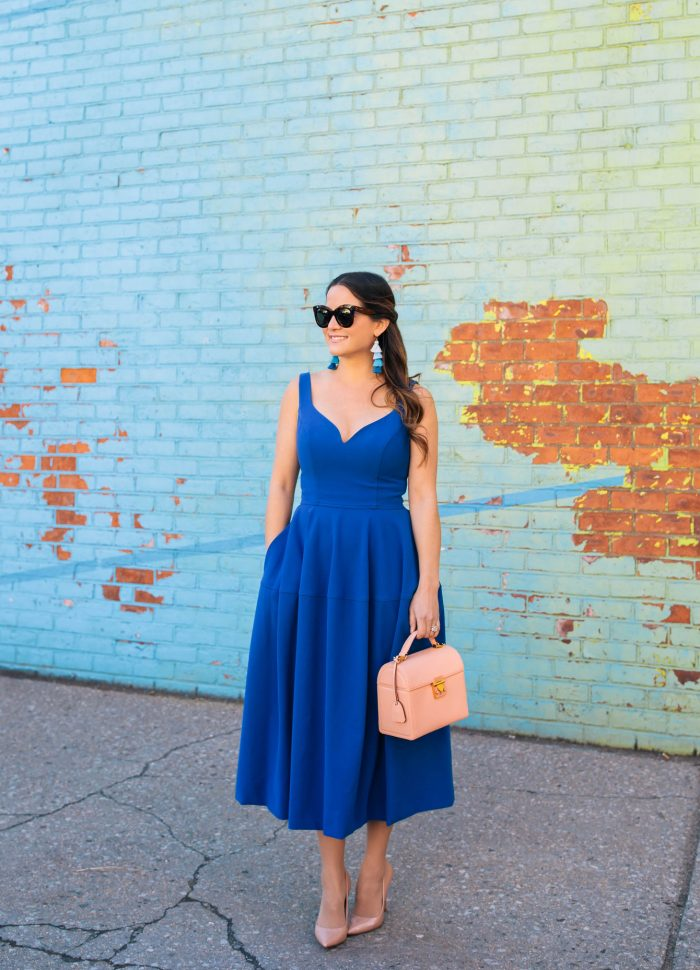 Cobalt Blue Fit and Flare Midi Dress in Brooklyn