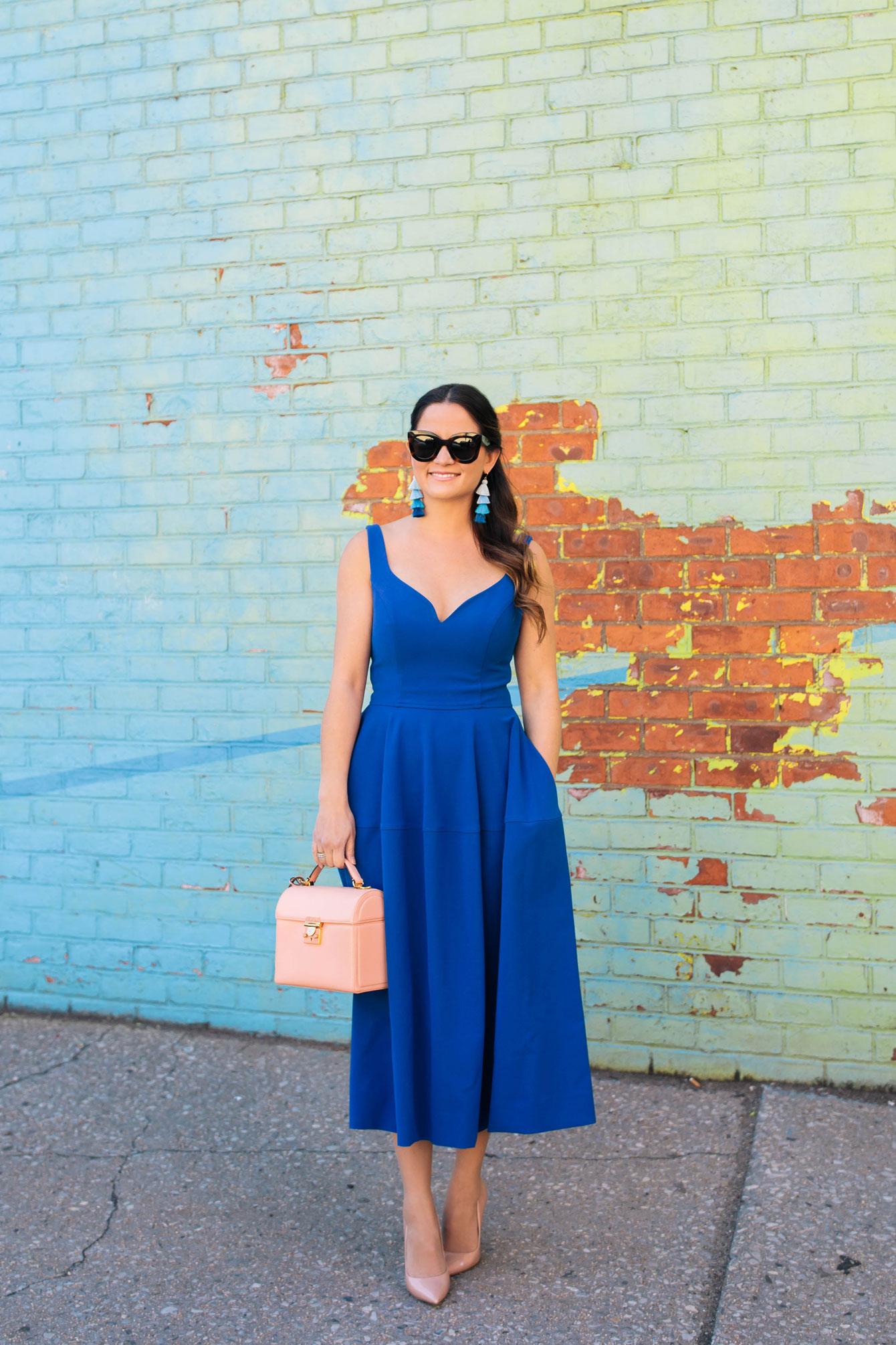 Jill Stuart Cobalt Blue Fit and Flare Midi Dress