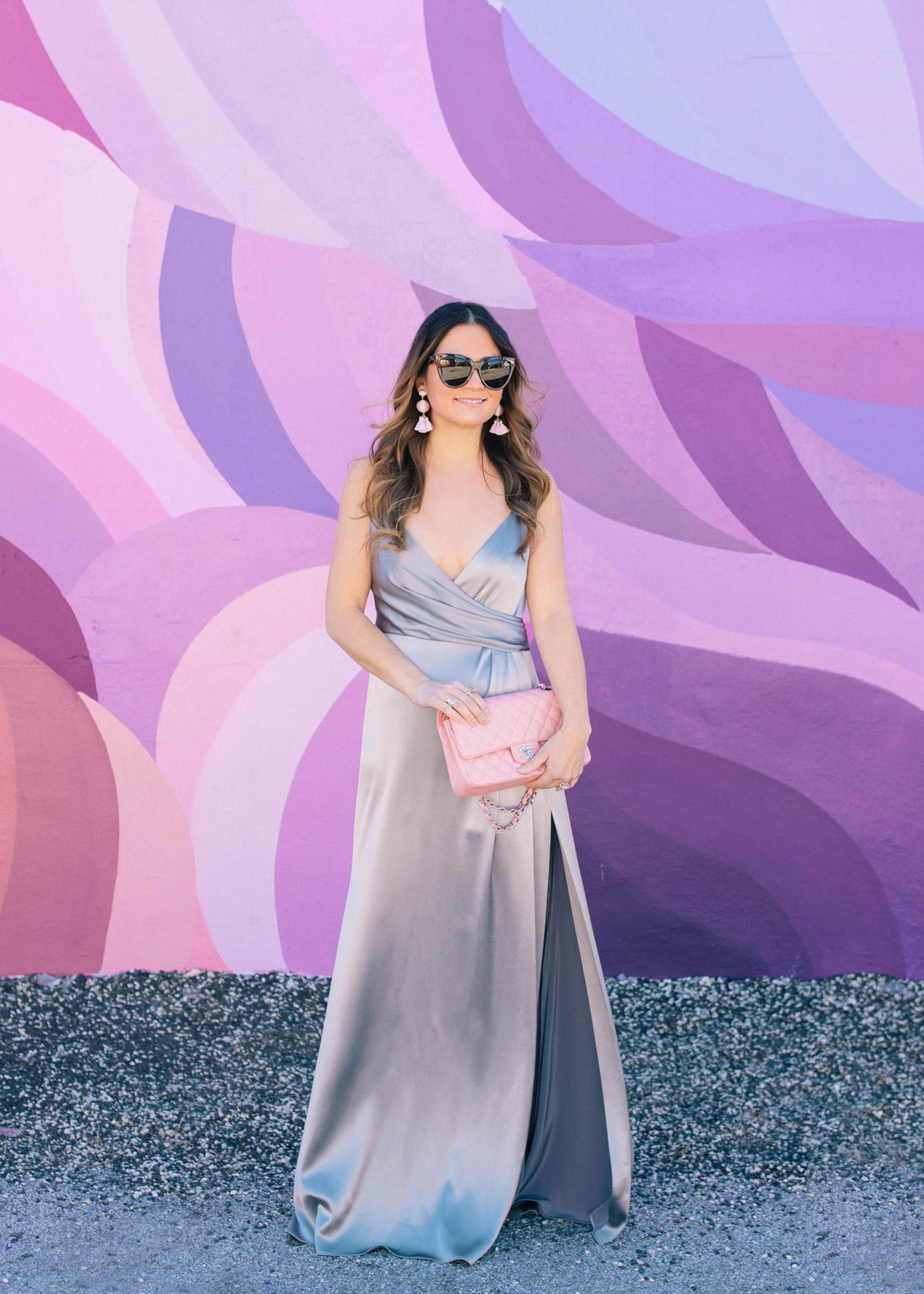 Jill Stuart Silver Satin Maxi Dress