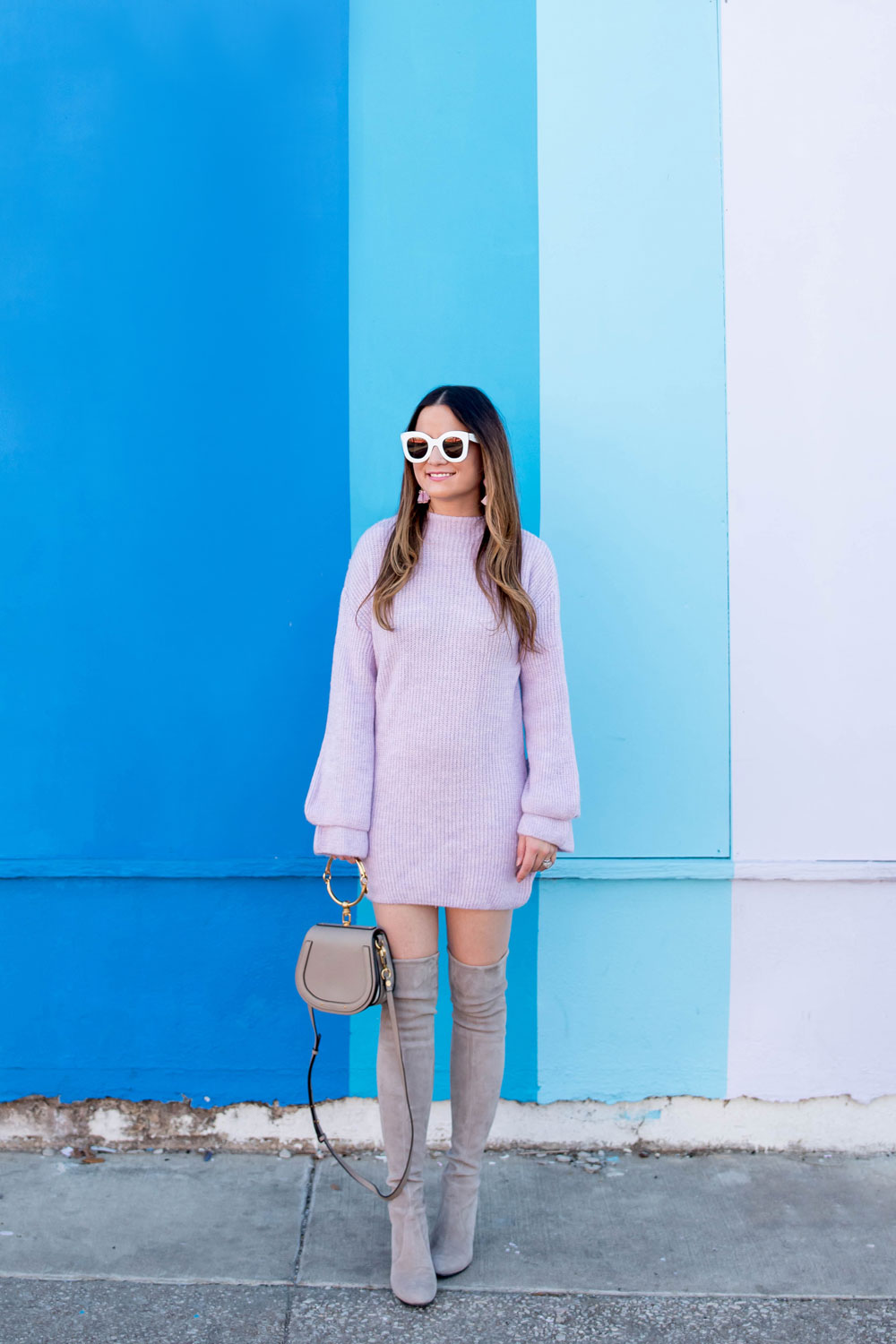 Lilac Double Flute Sleeve Sweater
