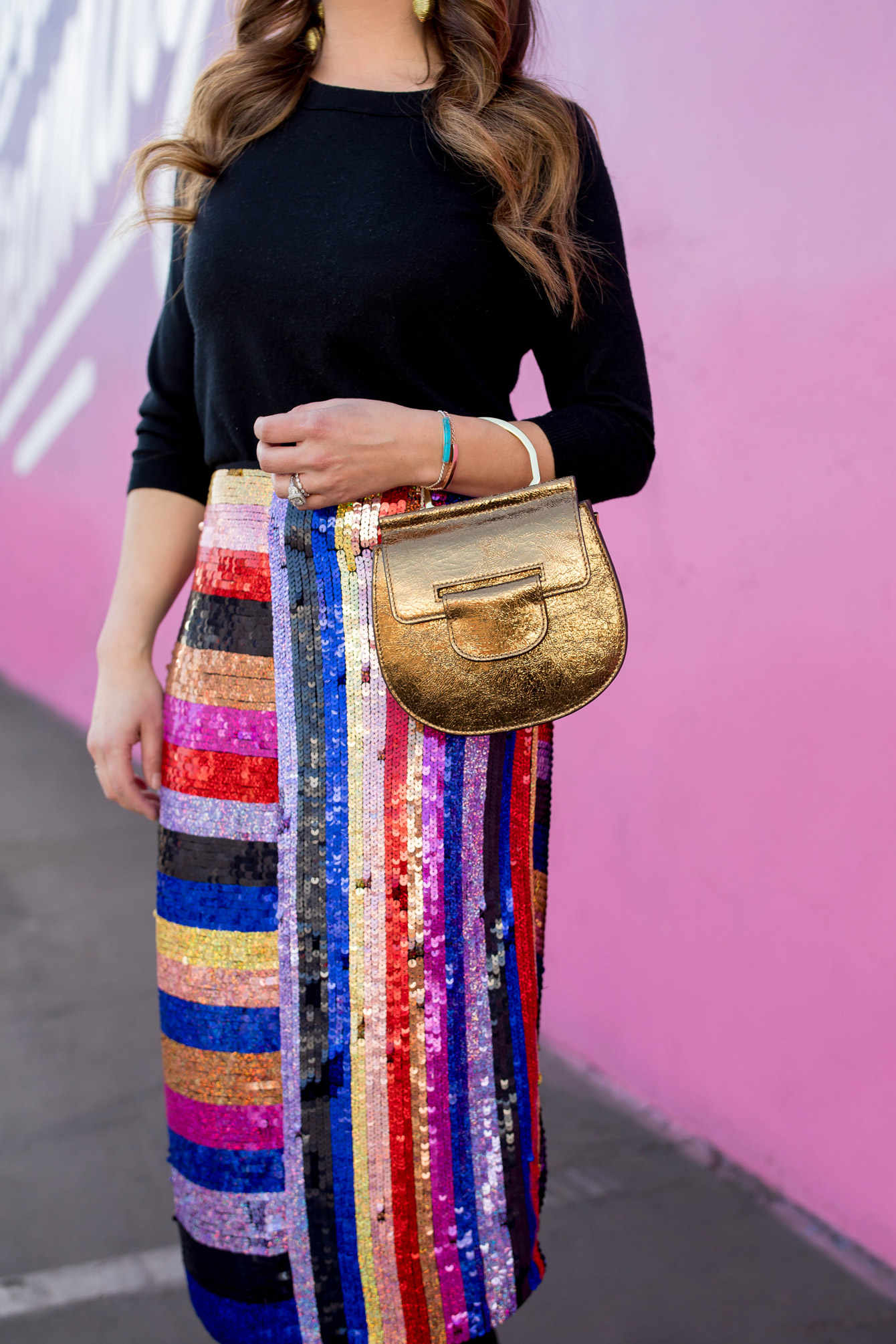 Louise Cie Metallic Bracelet Bag