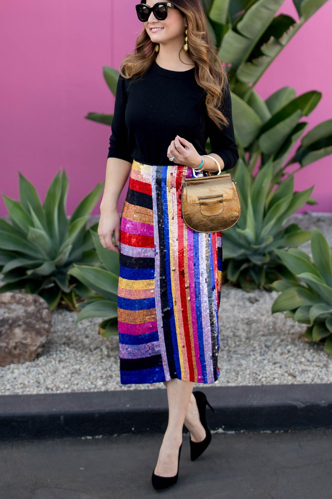 Multicolor Stripe Sequin Skirt