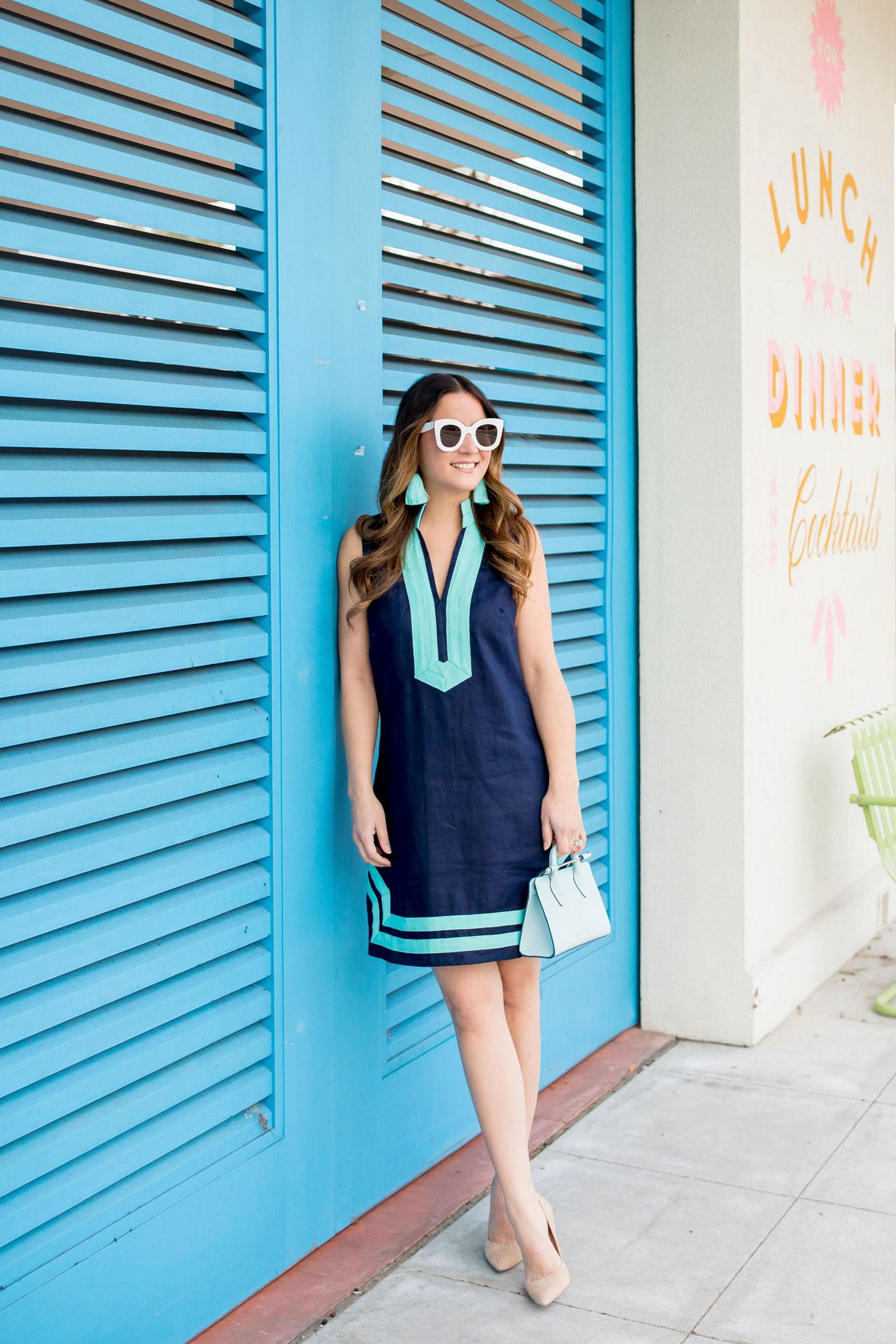 Navy and Turquoise Sleeveless Tunic Dress