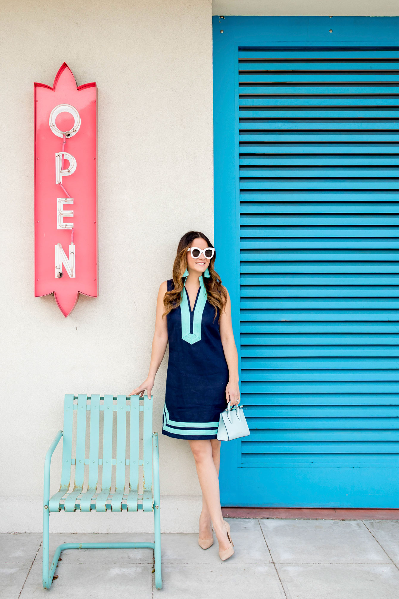 Navy Turquoise Tunic Dress