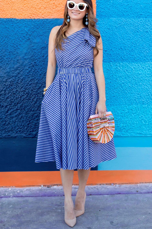 One Shoulder Blue Stripe Fit Flare Dress