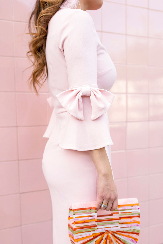 Pink Bow Sleeve Sheath Dress