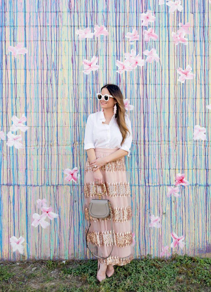 Sequin Stripe Tulle Maxi Skirt in Houston