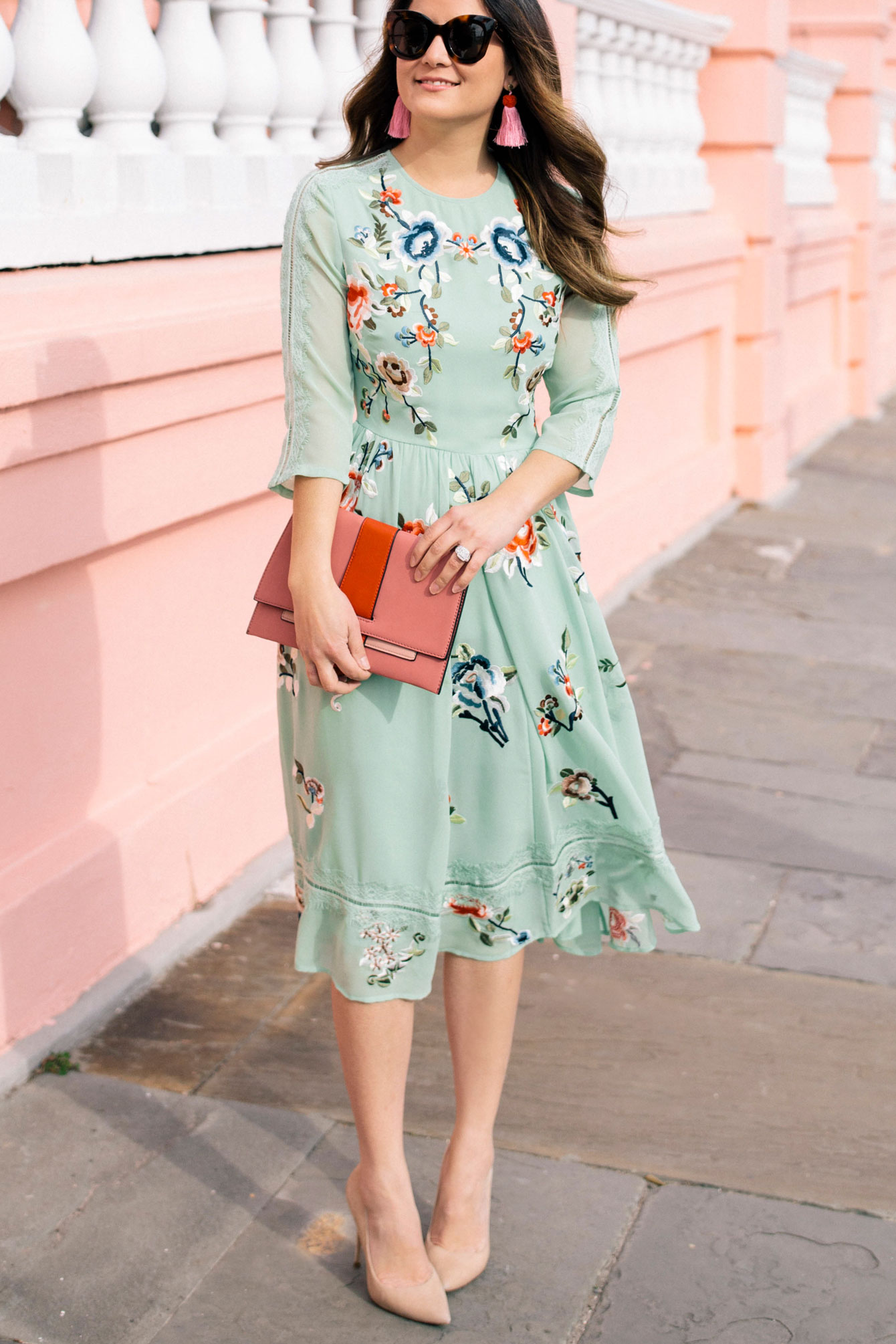 ASOS Green Embroidered Dress