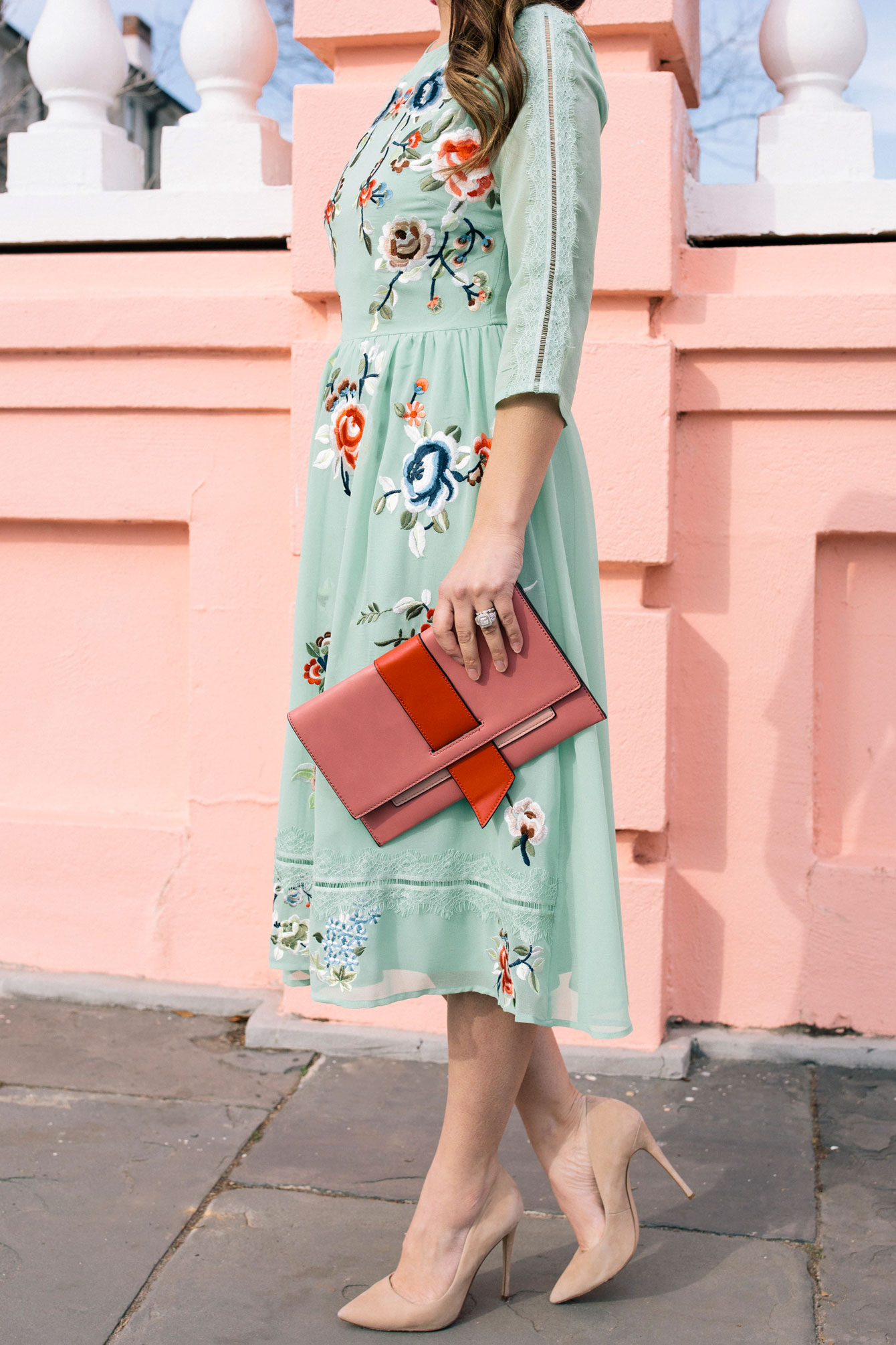 ASOS Green Floral Midi Dress