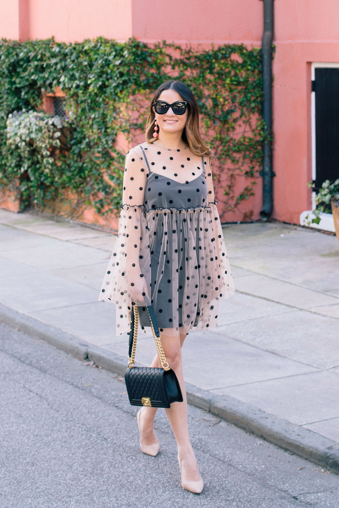 Black Polka Dot Sheer Dress