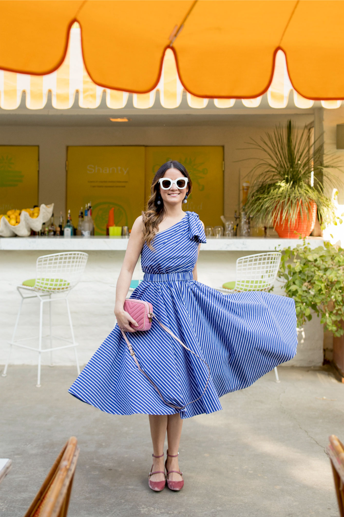 Blue White Stripe One Shoulder Fit Flare Dress