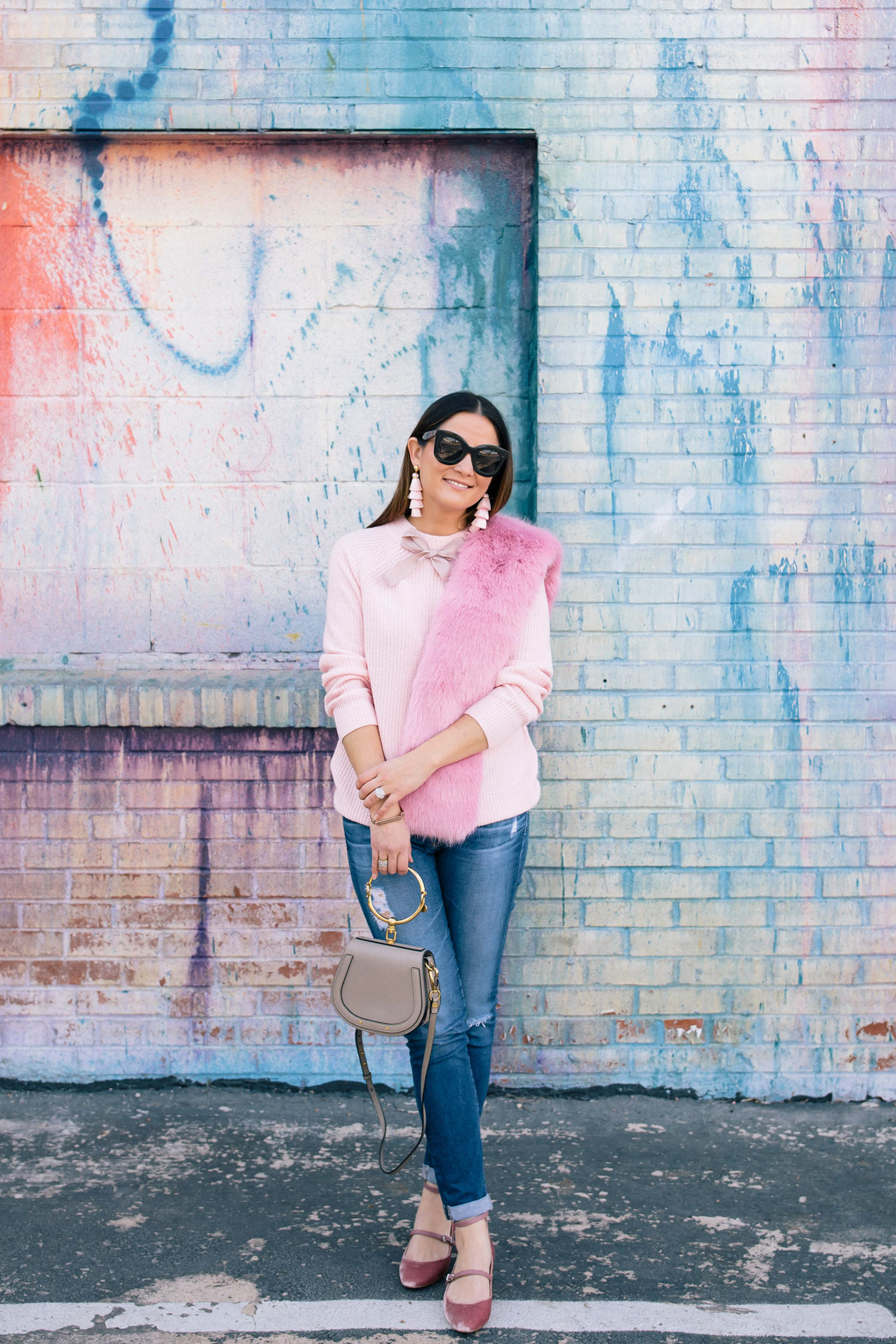 Bright Pink Faux Fur Stole