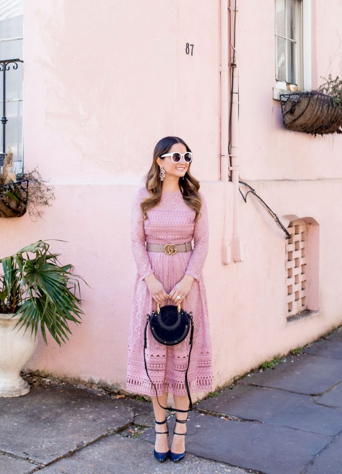 Blush Lace Long Sleeve Midi Dress in Charleston