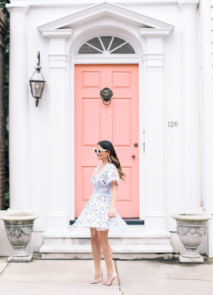 Blue Crochet Lace Dress at the Iconic Charleston Pink Door