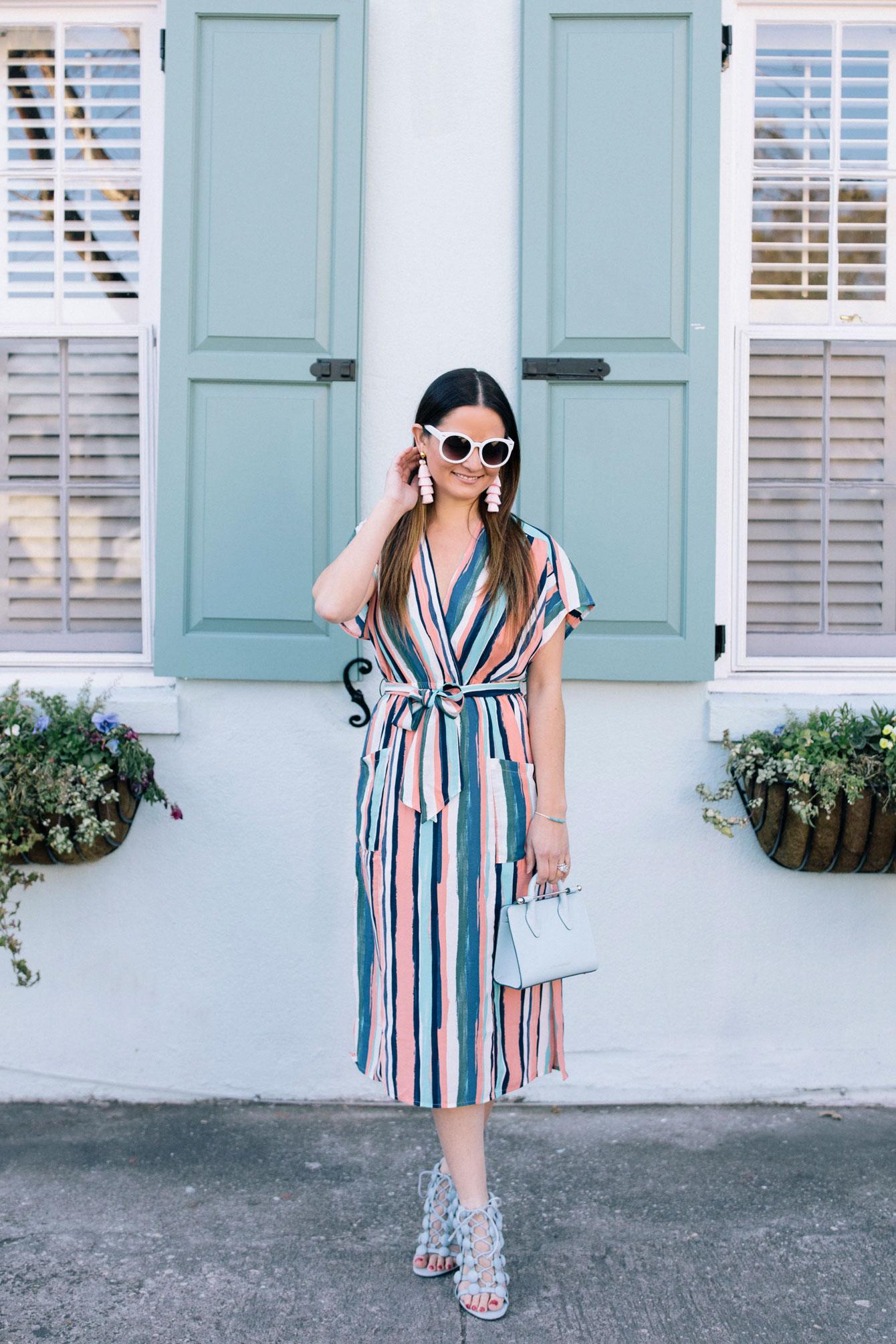 Colorful Striped Wrap Dress