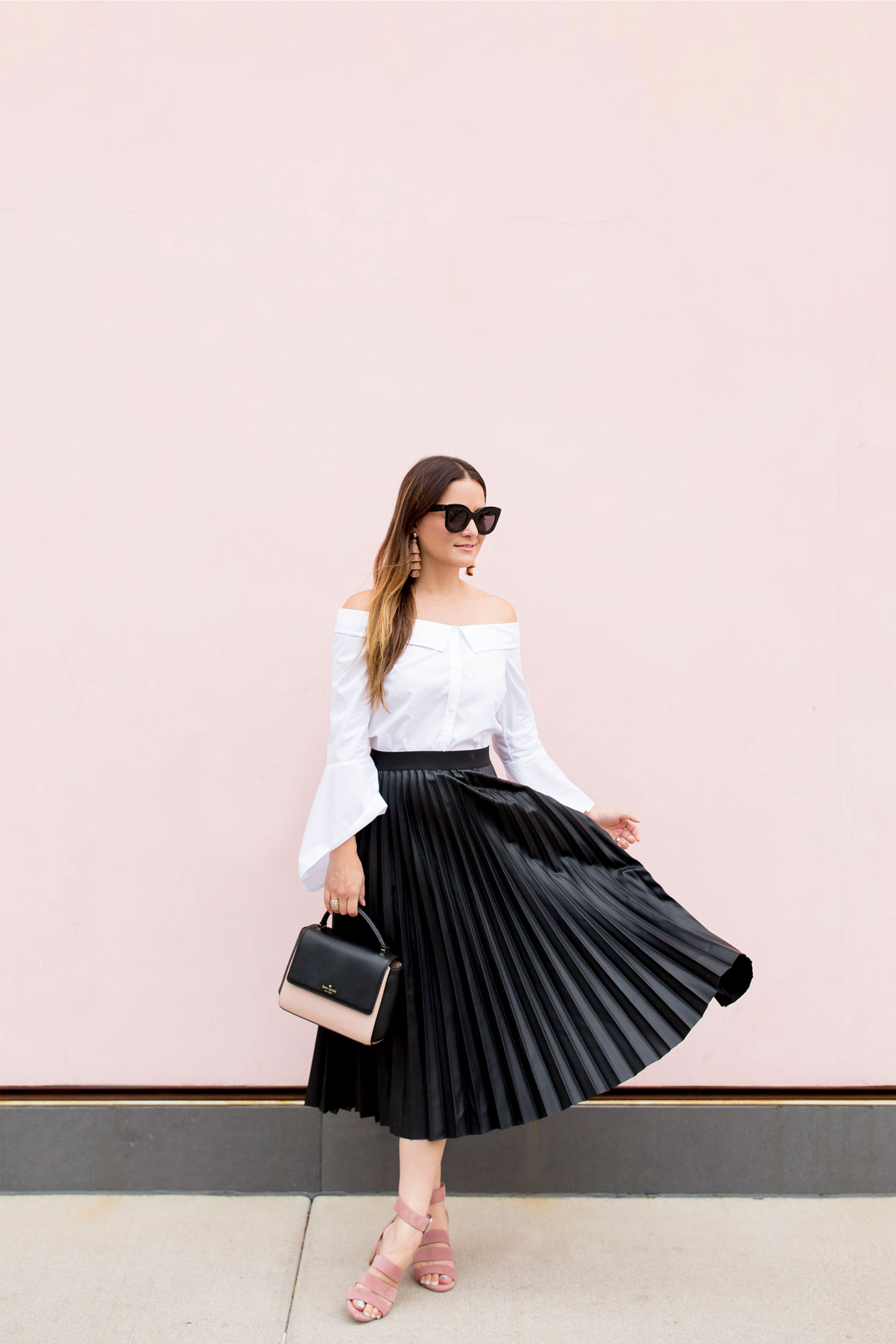 Black Faux Leather Pleated Skirt