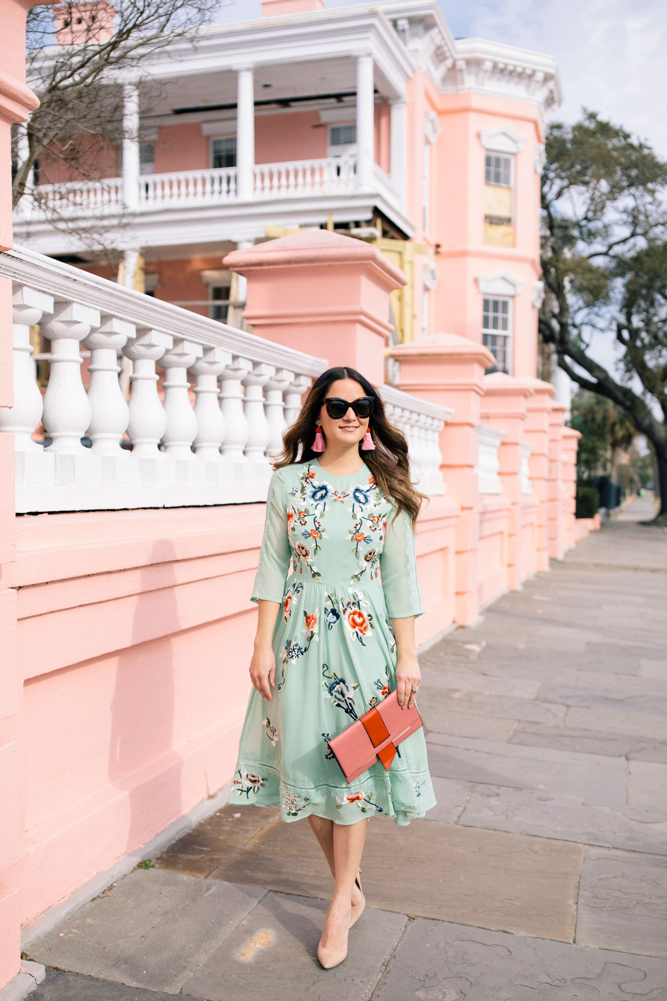Green Floral Embroidered Midi Dress