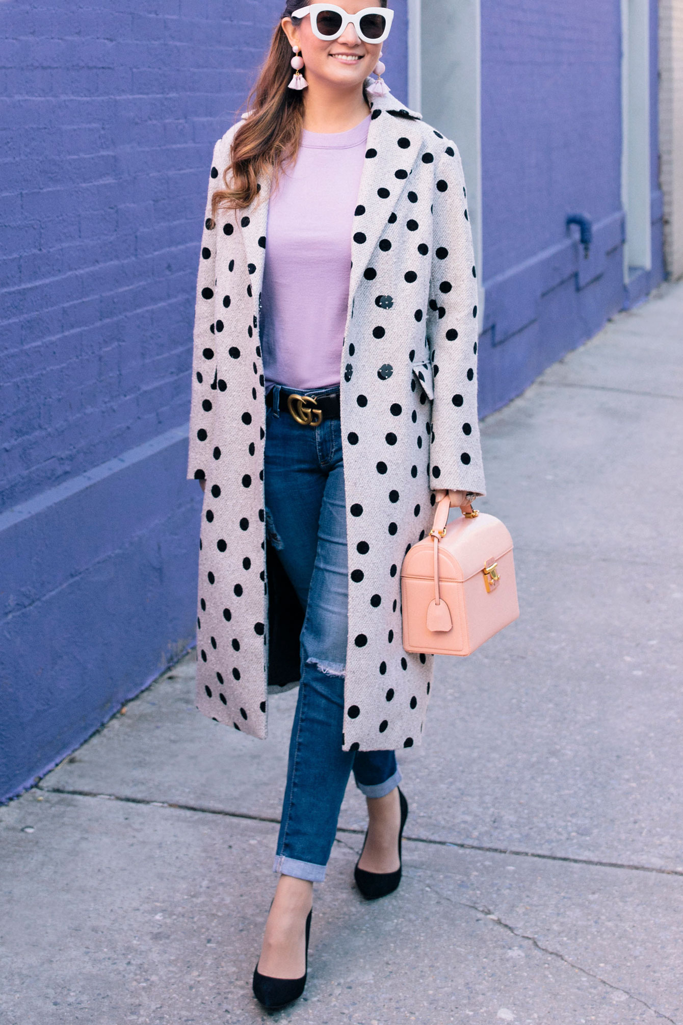 Grey Black Polka Dot Coat
