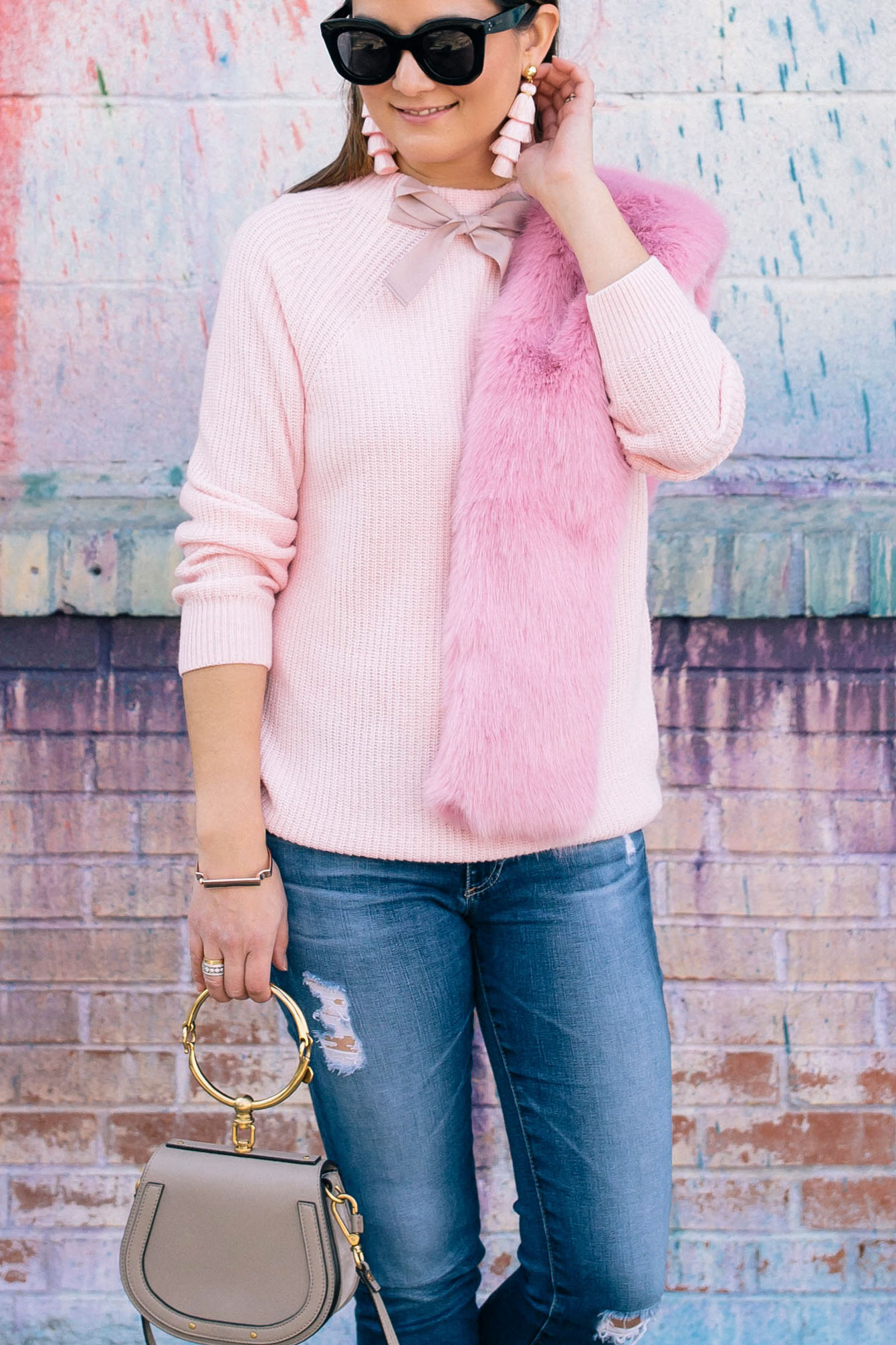 J. Crew Pink Sweater Bow Detail