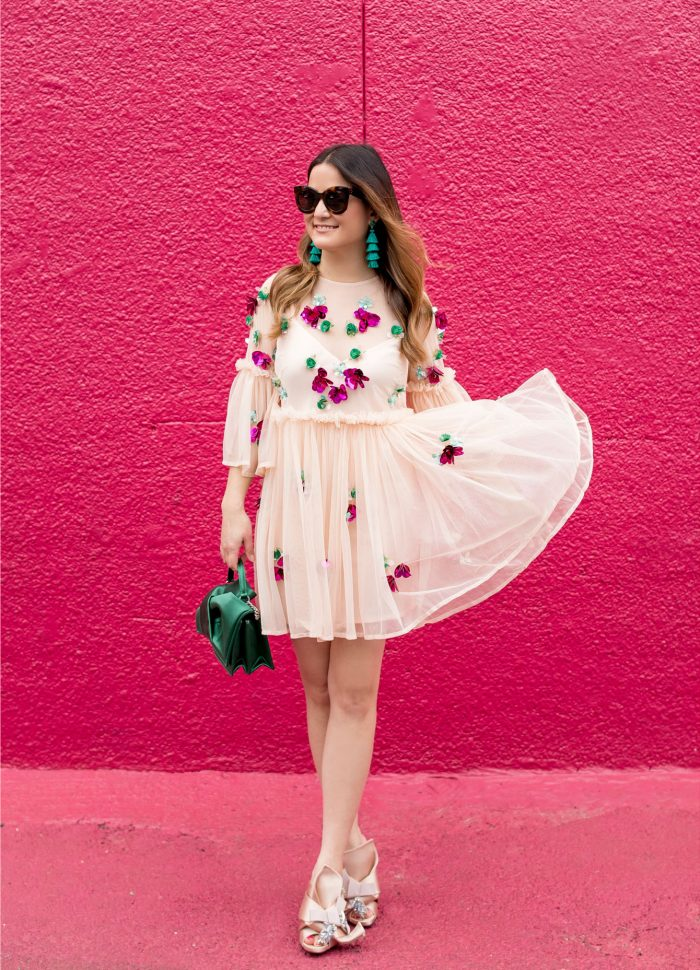 Embellished Mesh Bell Sleeve Mini Dress in Houston