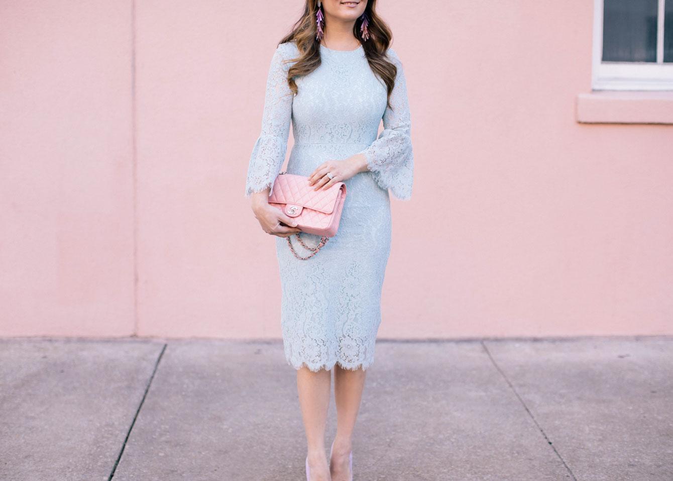 Light Blue Lace Bell Sleeve Sheath Dress