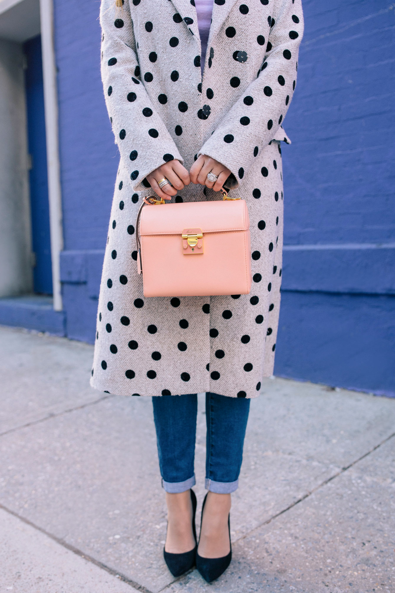 Styling A Polka Dot Coat With Pastels Style Charade
