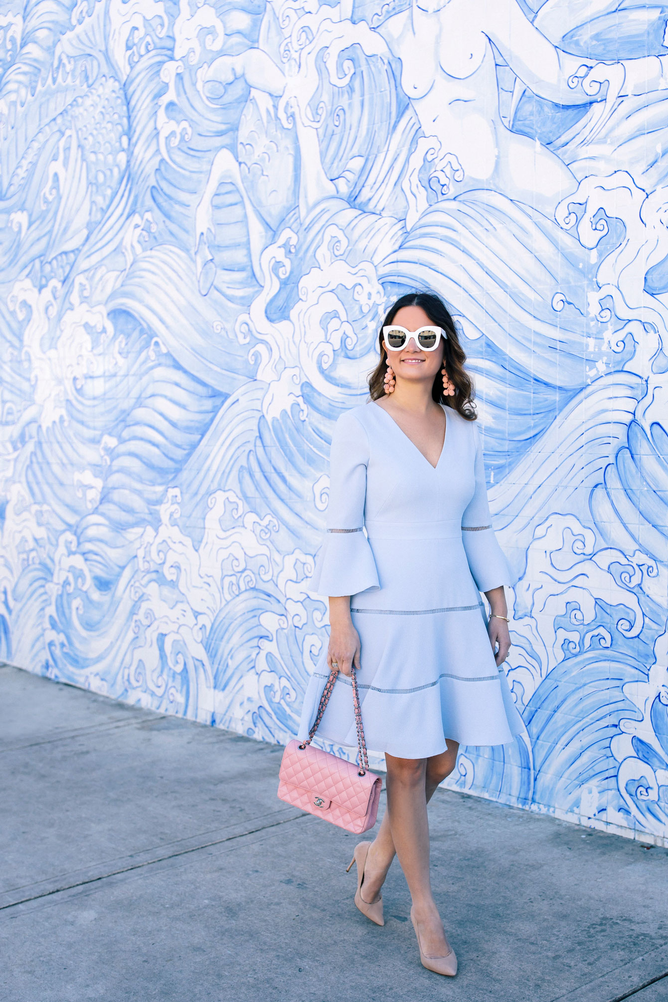 Miami Blue Tile Waves Mural