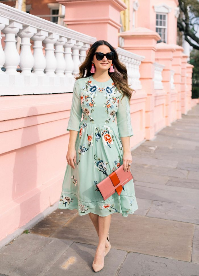 Green Floral Embroidered Midi Dress in Charleston