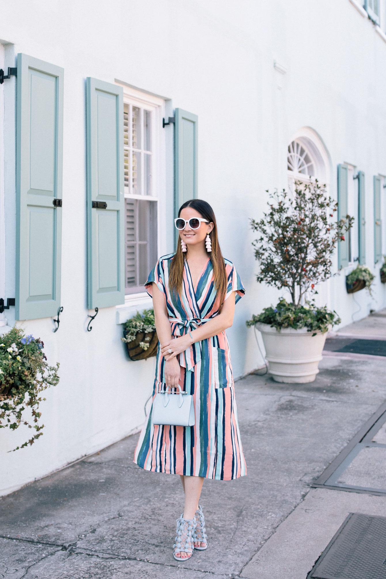 Multicolor Striped Wrap Dress