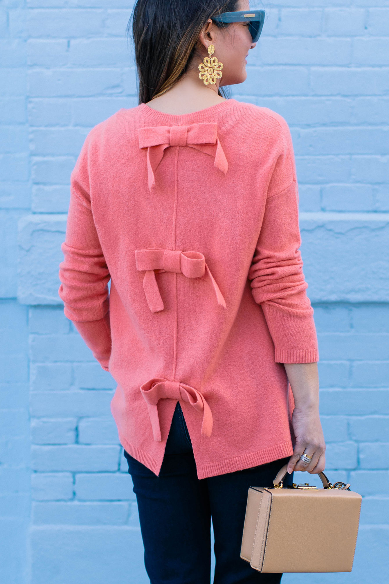 Coral Bow Back Sweater