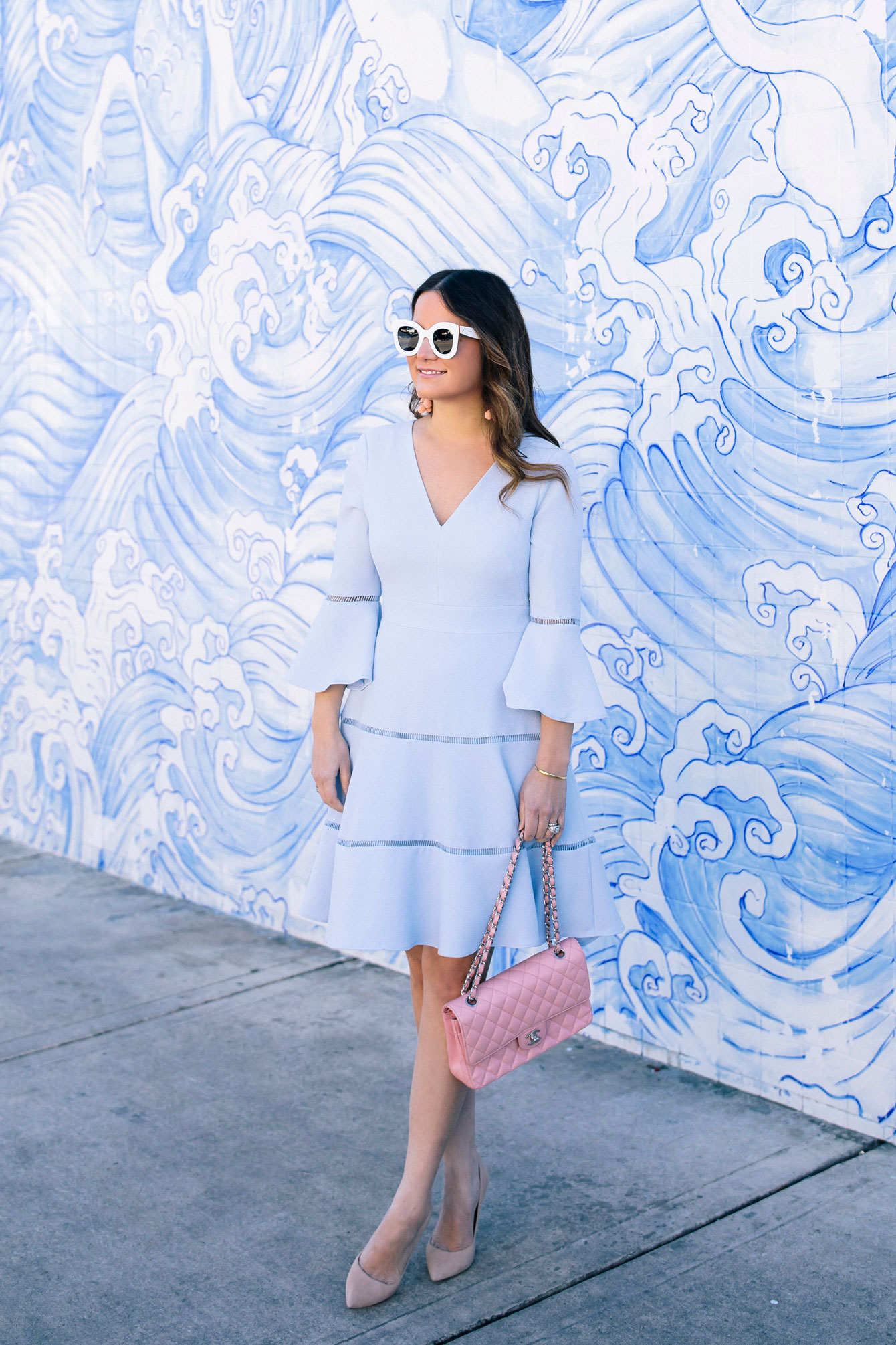 Pale Blue Bell Sleeve Dress