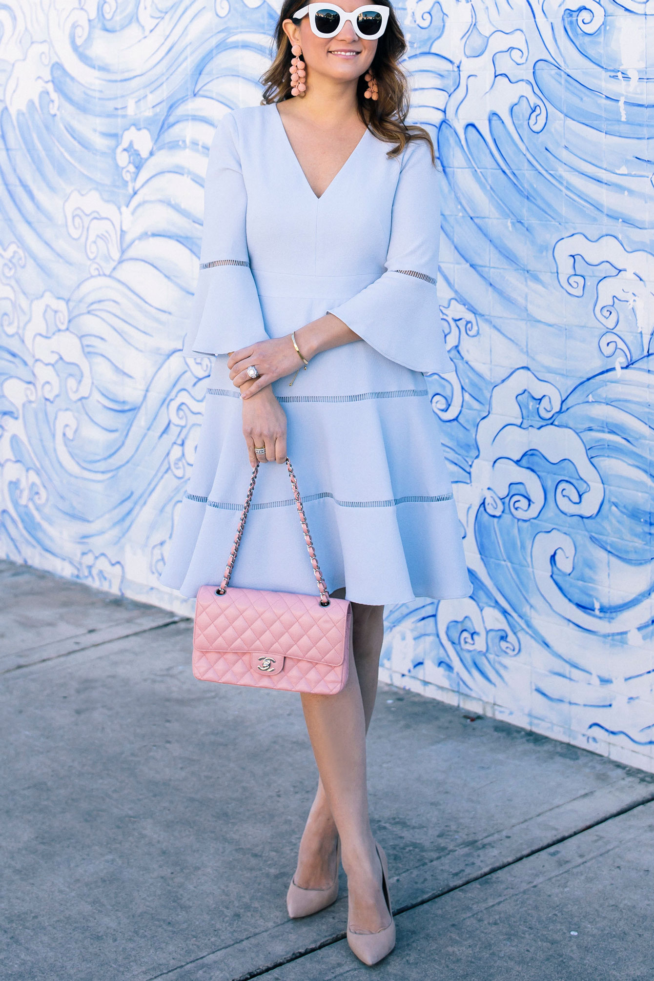 Pale Blue Fit and Flare Dress