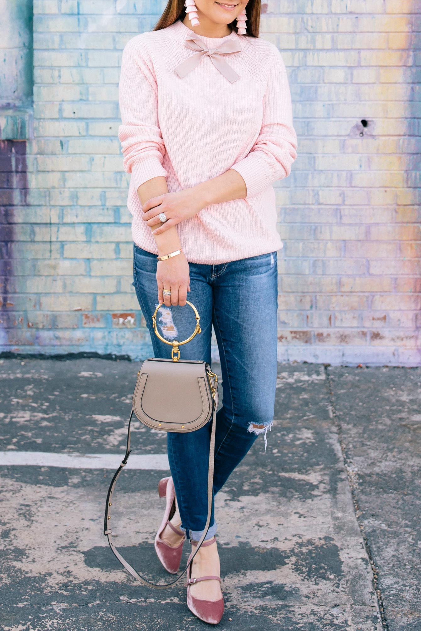 Pink Bow Neck Sweater