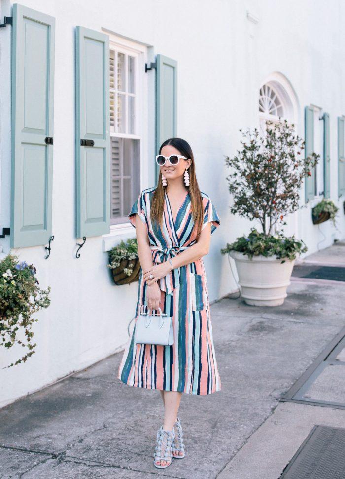 Multicolor Striped Wrap Dress in Charleston