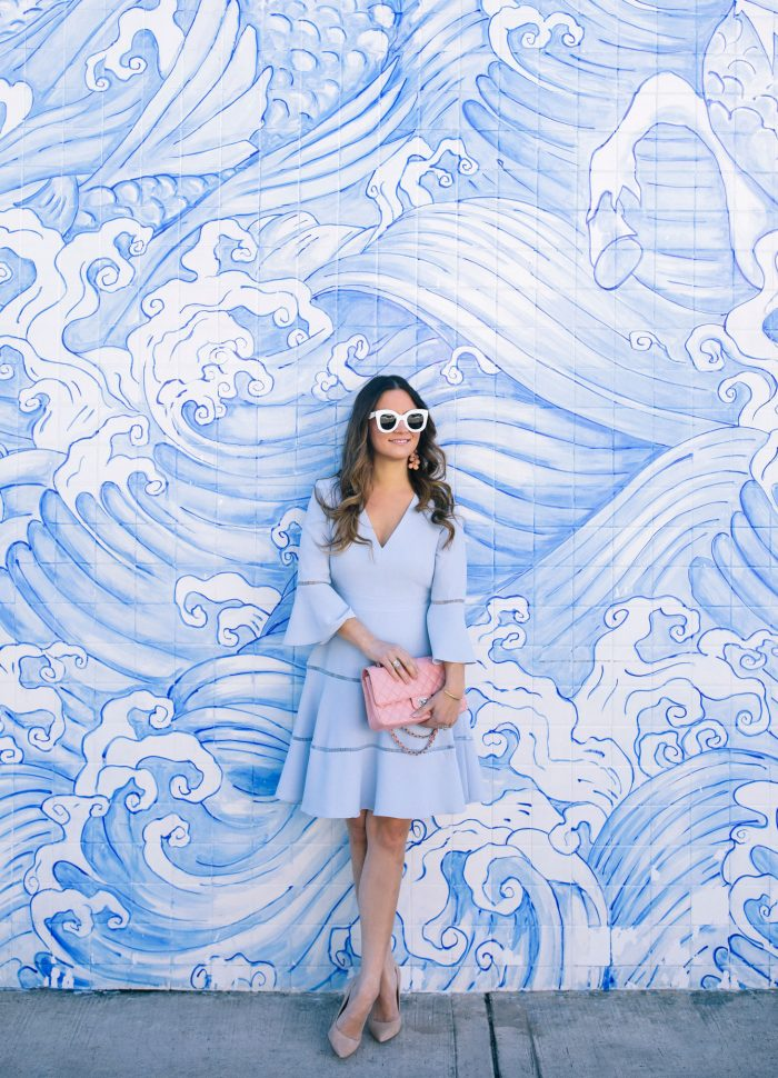 Pale Blue Fit and Flare Dress in Miami