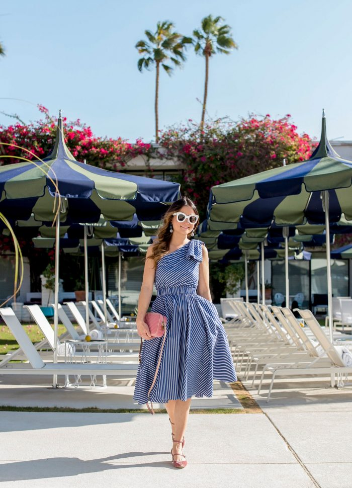Blue One Shoulder Dress at the Parker Palm Springs