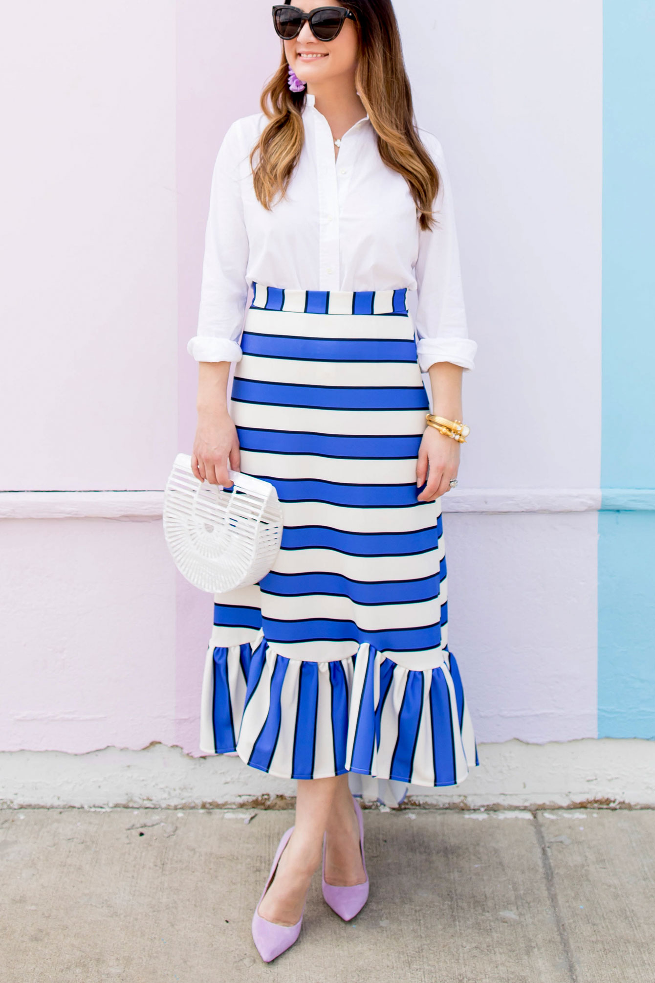 ASOS Blue Stripe Skirt