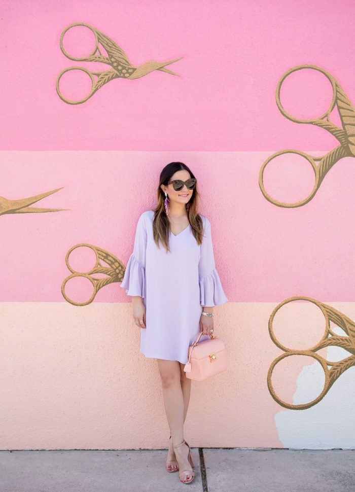 Lilac Bell Sleeve Shift Dress in Austin
