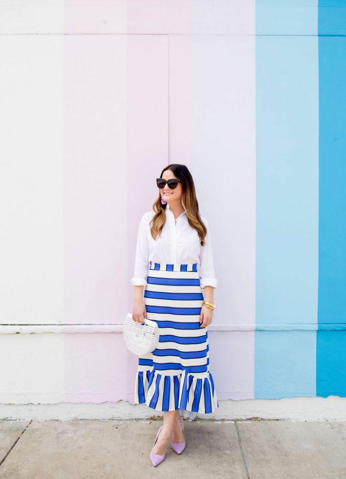 Blue Stripe Ruffle Midi Skirt in Houston