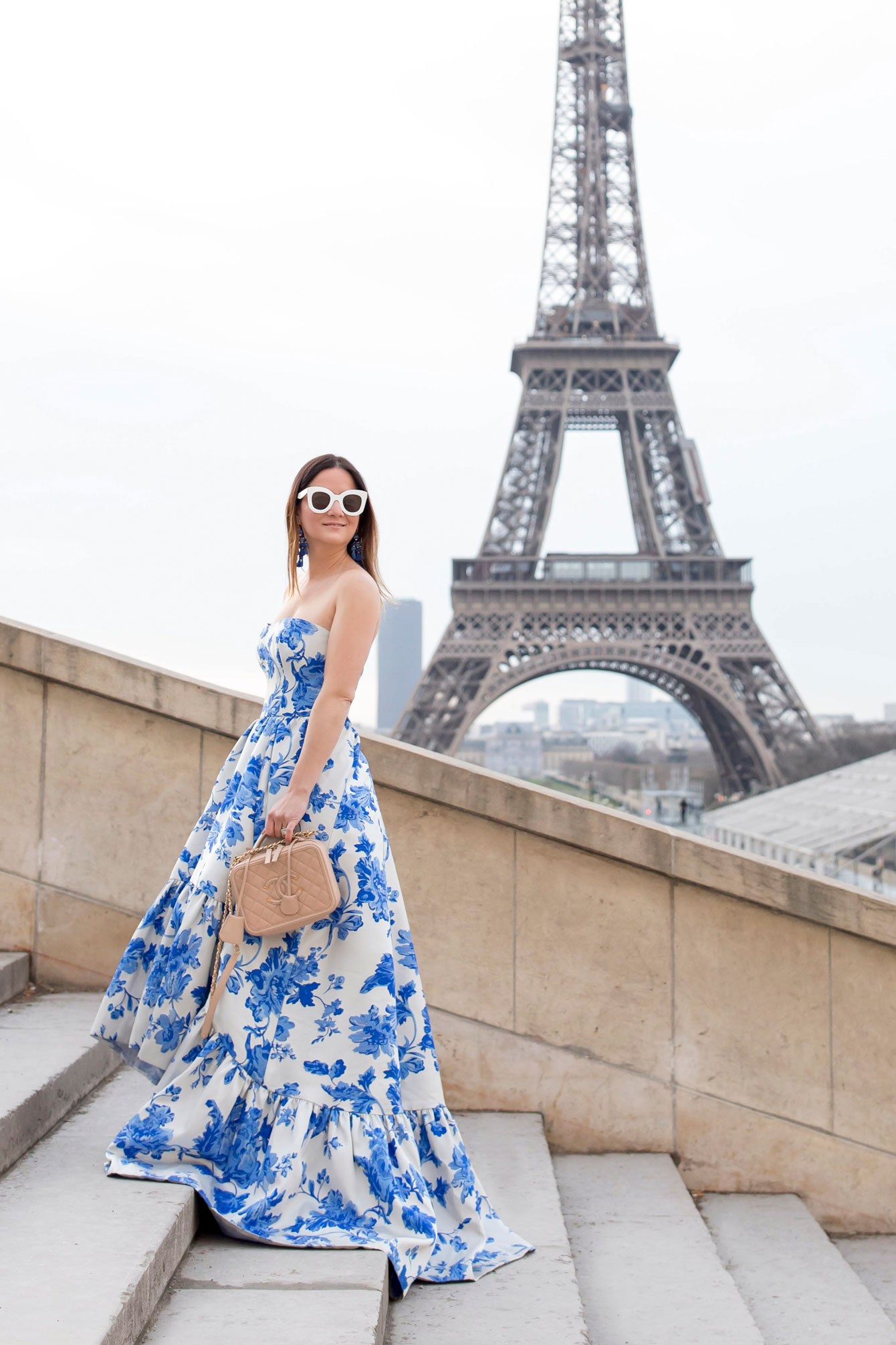 Blue White Floral High Low Gown