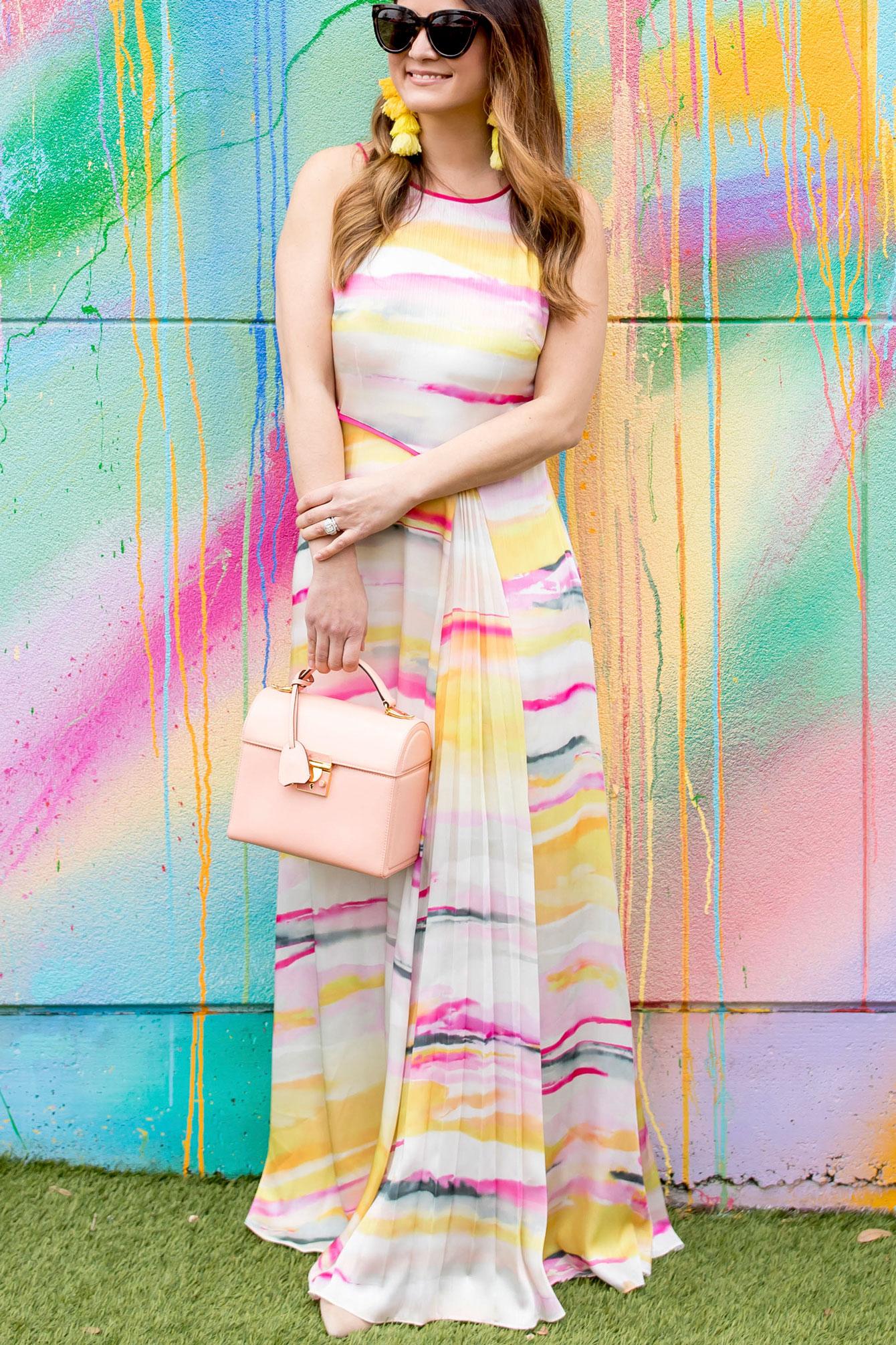 Coast Watercolor Print Maxi Dress