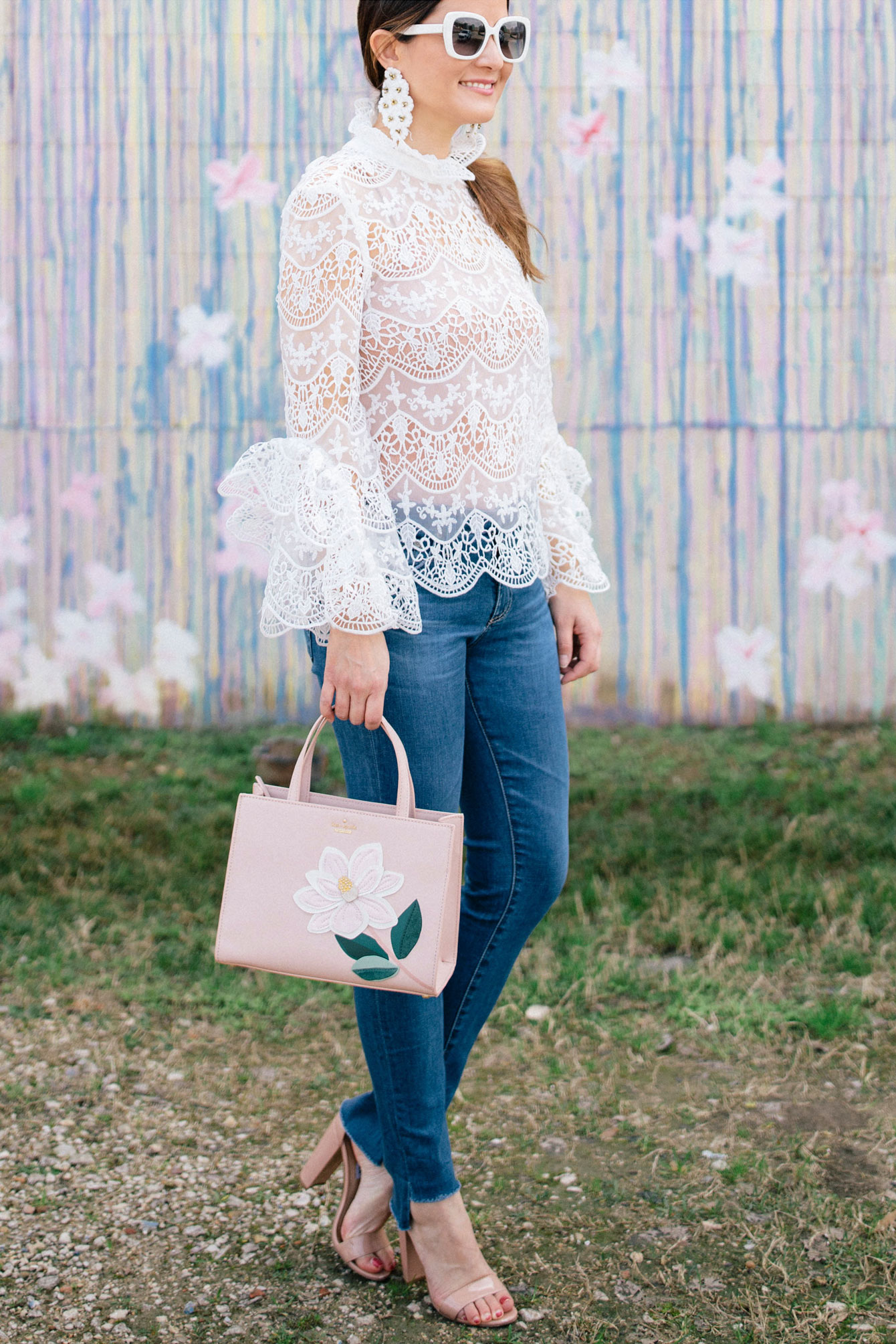 White Crochet Lace Top And Step Hem Jeans In Houston