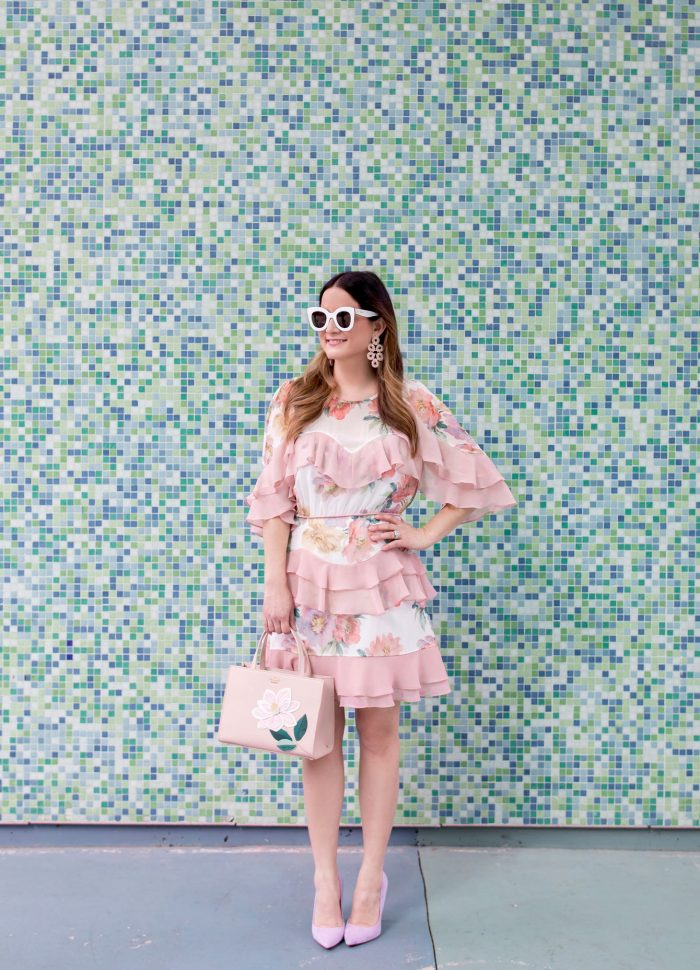 Pink Floral Tiered Ruffle Dress in Houston