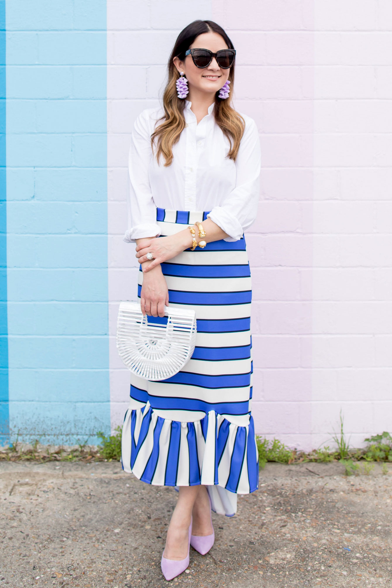 Jennifer Lake Blue Stripe Skirt