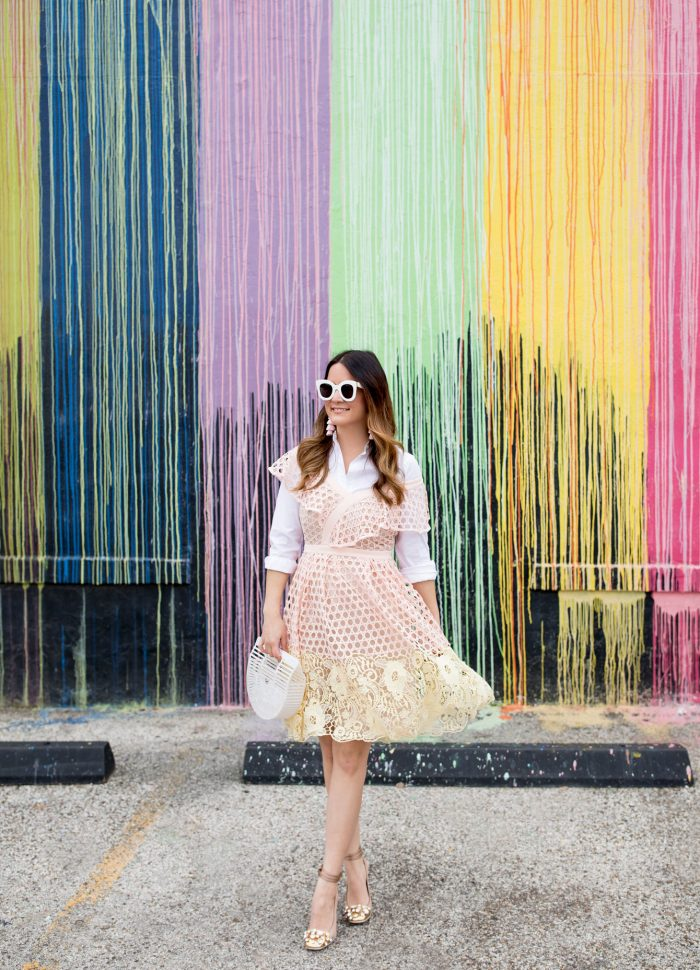 Pink and Yellow Ruffle Lace Dress in Houston