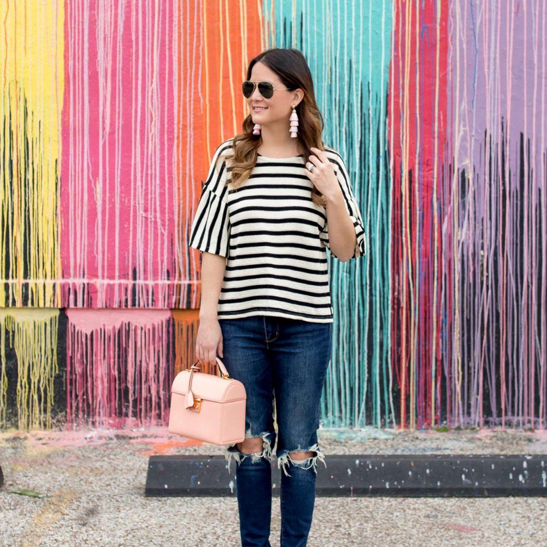 Jennifer Lake Madewell Stripe Bell Sleeve Top