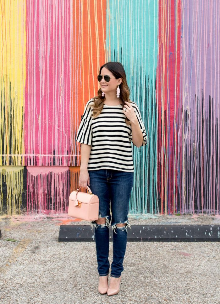 Madewell Stripe Bell Sleeve Top at the Biscuit Paint Wall in Houston