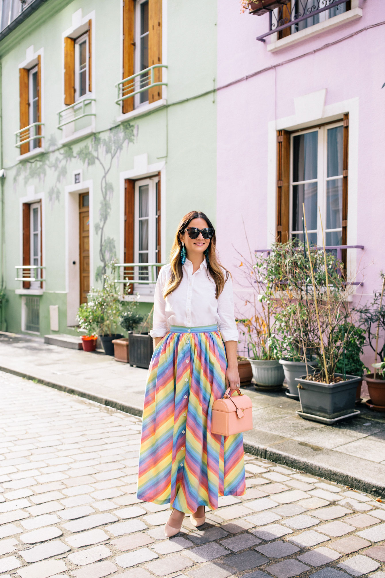 Jennifer Lake MDS Stripes Rainbow Stripe Skirt