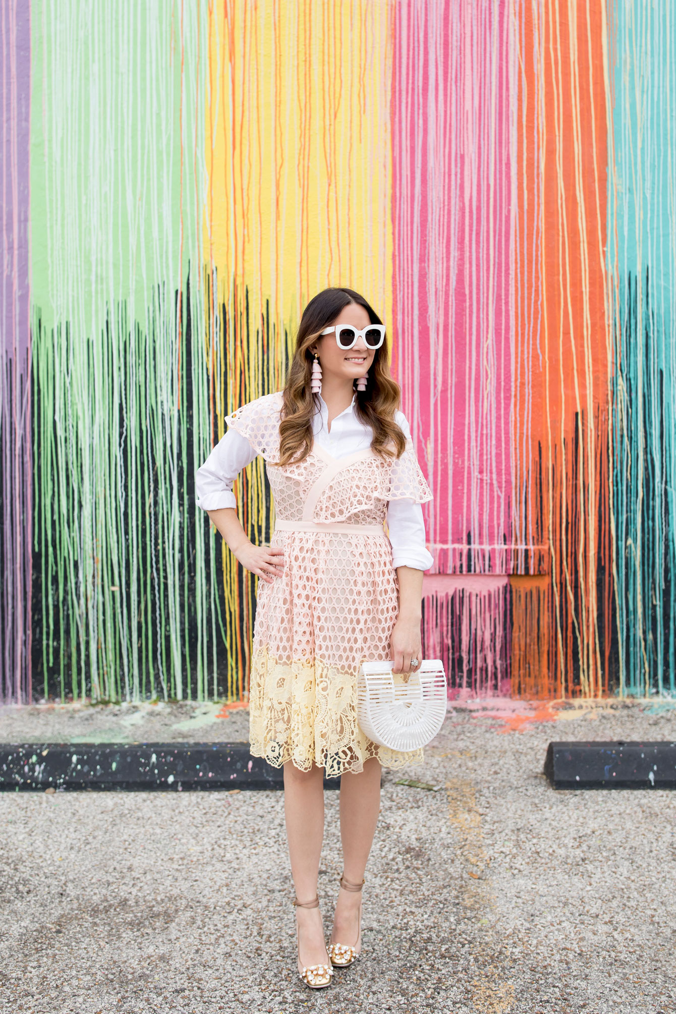 Jennifer Lake Pink and Yellow Ruffle Lace Dress